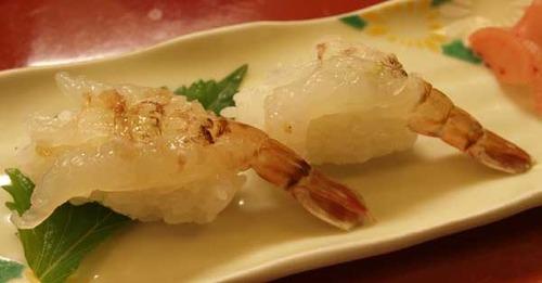 鳥取市賀露港かろいち内『寿司若林』、猛者えび/クロザコエビ